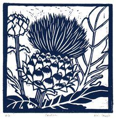 Cardoon by Kim Lewis Art And Illustration, Graphic Design Illustration, Artichoke Flower, Origami, Plant Painting, Encaustic Painting, Botanical Drawings, Wood Engraving, Linocut Prints