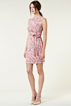 SLEEVLESS FLORAL ROUCHED WRAP DRESS