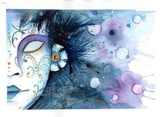 Arte, Artesania y Manualidades ilustración en acuarela de una máscara veneciana, Clase en directo en mi perfil de Instagram @ariadnasimoart forma parte de un conjunto de acuarelas para un calendario ilustrado en acuarela Movie Posters, Painting, Carnival, Shape, Arts And Crafts, Calendar, Water Colors, Film Poster, Painting Art