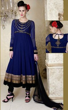 USD 194.36 Blue Net Long Anarkali Suit With Salwar 30305