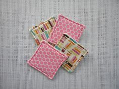 Coasters tiny books & pink polka dots by LiveLaughSew on Etsy, $6.00