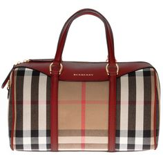 Burberry Medium Alchester in House Check and Leather Handbag (20,600 MXN) ❤ liked on Polyvore featuring bags, handbags, leather bowling bag, bowling bag, burberry purses, man bag and handbags & purses
