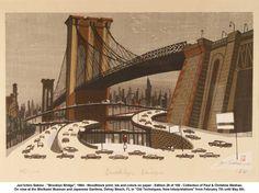 "Jun'ichiro Sekino - ""Brooklyn Bridge"", 1964 - Woodblock print; ink and colors on paper - Edition 28 of 100"