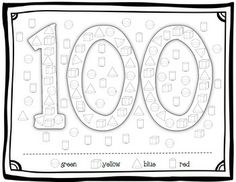 100th Day Freebie~ Color by 3D Shape