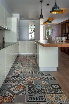 New kitchen grey stone interior design Ideas Kitchen Floor Tile Patterns, Patterned Kitchen Tiles, Kitchen Flooring, Kitchen Cabinets, White Cabinets, Modern Flooring, Concrete Kitchen, Kitchen On A Budget, New Kitchen