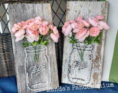 Mason Jar en bloemen String kunst van MandasPandemonium op Etsy