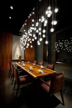 This would B great 4 a dining room. 13 Stylish Restaurant Interior Design Ideas Around The World Deco Restaurant, Restaurant Lighting, Restaurant Interior Design, Modern Interior Design, Home Design, Interior Architecture, Interior And Exterior, Restaurant Ideas, Restaurant Interiors