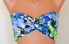 Blue floral spandex twisted lycra bandeau strappless bra by bstyle, $20.00