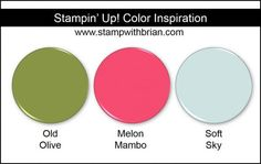 Stampin' Up! Color Inspiration: Old Olive, Melon Mambo, Soft Sky