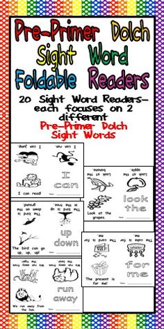 This is a set of 20 emergent reader little books- each book focuses on 2 sight words from the Dolch Pre-Primer Sight Word list!! Each book prints on a single sheet of paper; students simply fold the paper into a book! No cutting, sorting, or stapling is needed! $