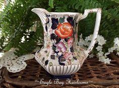 Antique Samuel Johnson Burslem - Imari Floral English Jug /Pitcher - Cobalt Blue #Victorian #SamuelJohnsonBurslemEngland