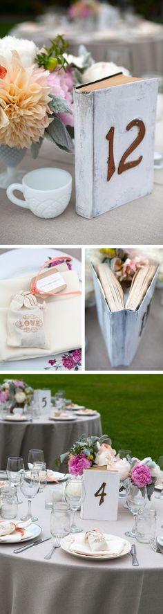 DIY | Book Table numbers :: http://studioelevenweddings.com/