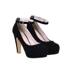 SheIn(sheinside) Black Ankle Strap High Heel Pumps (600 CZK) ❤ liked on Polyvore featuring shoes, pumps, sapatos, heels, black, high heels, round toe platform pumps, round toe pumps, black shoes and black ankle strap pumps