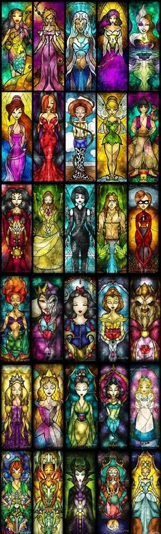 L to r Pocahontas, Giselle:Enchanted, Kida:Atlantis, Esmeralda:Hunchback, Ursula:Mermaid, Megara:Hercules, Jessica Rabbit, Jessie:Toy story, Tinkerbell, Aladin, Mother Gothel:Tangled, Jane, Quorra:Tron, Tarzan, Elastigirl:mom Incredibles, Ariel:Mermaid, Evil Queen, Snow White, Belle:Beauty and the Beast, Beast, Rapunzel:Tangled, Aurora:Sleeping Beauty, Mulan, Jasmine:Aladdin, Alice, Peter Pan, Tiana:Frog Princess, Maleficent:Sleeping Beauty, Sally:Nightmare before Christmas, Cinderella