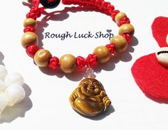 Chinese Good Luck Button Knot Hotei Buddha Tiger by ROUGHLUCKSHOP