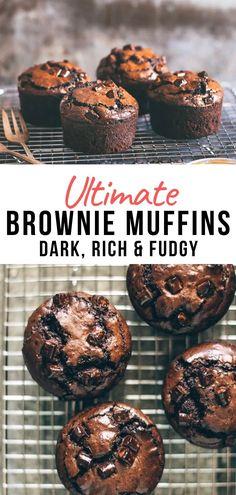 Dark Chocolate Brownies, Easy Chocolate Desserts, Chocolate Muffins, Chocolate Cupcakes, No Bake Desserts, Chocolate Recipes, Easy Desserts, Delicious Desserts, Brownie Muffin Recipe