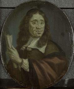 Arnoud van Halen   Jan Vos (c. 1620-67), Amsterdam poet, Arnoud van Halen, 1700 - 1732   Portret van Jan Vos (ca.1620-67). Dichter te Amsterdam. Buste in ovaal, het hoofd naar rechts gekeerd, een opgerold papier in de handen. Onderdeel van een verzameling portretten van Nederlandse dichters.