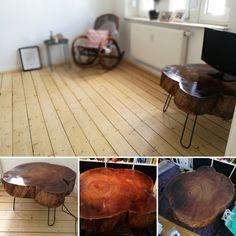Diesen TV-Tisch habe ich selbst gemacht. Ganz einfach. Einfach eine Baumscheibe geschliffen, lackiert, Beine drunter, fertig. (Holz)