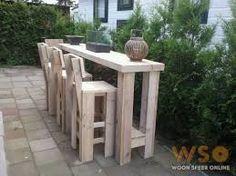 Afbeeldingsresultaat voor hoge tafel steigerhout