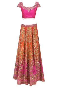 Orange and fuschia pink ombre embroidered lehenga set available only at Pernia's Pop Up Shop. Pakistani Outfits, Indian Outfits, Estilo India, Ritu Kumar, Lehenga Online, Lehenga Saree, Western Dresses, India Fashion, Bollywood Fashion