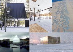 """Cabane au Canada, par Uufie. """"The mirror house""""par Ekkehard Altenburger.  Archives EDF centre par LAN Architecture, façade en béton incrusté de facettes inox."""