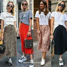 Image may contain: 4 people, people standing Long Skirt Outfits, Midi Skirt Outfit, Modest Outfits, Classy Outfits, Modest Fashion, Skirt Fashion, Cool Outfits, Casual Outfits, Fashion Outfits