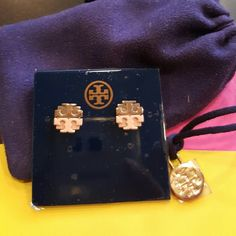 **SOLD**New Tory Burch Brand Earrings Beautiful TB earrings in color  Blush/Rose Gold.  Comes with pouch. AUTHENTIC! Tory Burch Other