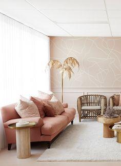 Living Room Sofa, Living Room Decor, Living Spaces, Pink Living Rooms, Blush Pink Living Room, Living Area, Home Interior, Living Room Interior, Interior Design