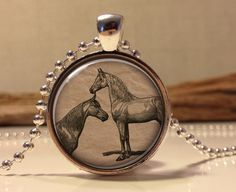 Horses necklace.  Horse art pendant jewelry by Hadaskolcollection, $12.95