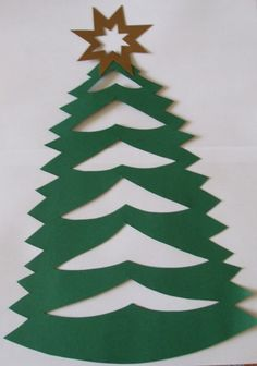 nice paper cut tree for littlies to try Christmas Trees For Kids, Christmas Activities, Christmas Crafts For Kids, Christmas Holidays, Christmas Cards, Christmas Decorations, Christmas Ornaments, Origami Ornaments, Hobbies And Crafts