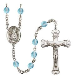 St. Christina the Astonishing Silver-Plated Rosary with 6mm Aqua Fire Polished beads