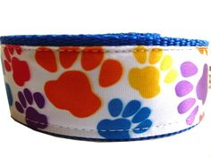 Dog Leash  Multicolors  Paws by thedoggiehouse on Etsy, $15.00