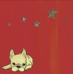 bouledogue français avec art étoiles imprimé / / par langleyandco