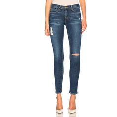 FRAME Denim Skinny De Jeanne ($260) ❤ liked on Polyvore featuring jeans, destructed jeans, destroyed jeans, super ripped skinny jeans, torn jeans and destructed skinny jeans