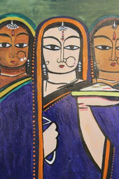 "This portrait painting is a replica of the masterpiece ""Three Pujarins"" (three priest wives) by Jamini Roy. I was inspired by the great Indian artist and attempted to replicate one of his works."