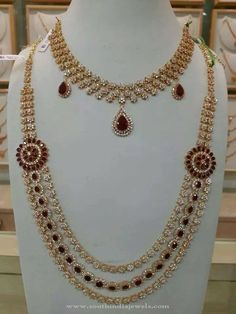 Ruby CZ Necklace and Long Sets - Jewellery Designs Indian Jewelry Sets, Indian Wedding Jewelry, Bridal Jewelry, Stone Necklace, Necklace Set, Pandora Necklace, Ruby Necklace, Necklace Ideas, Halo