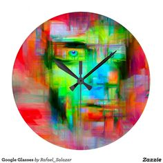 """Your Custom Round (Large) Wall Clock Google Glasses Round Clock Abstract interpretation of the Google Glasses by Rafael Salazar Artist from Colombia Copyright 2014 - All rights reserved Abstract and surreal art 11/17/2014 Fashionable Nerdy look on Steroids. An abstract look into the future using Google Glasses Wearable Technology carrying our computers on our heads. Sort of like wearing the Internet on the go. """"Never Miss a Moment"""" compliments of Google to Humanity!"""