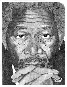 Morgan Freeman pointillism art (very, very detailed)