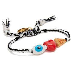 Venessa Arizaga I Love Pizza Bracelet ($55) ❤ liked on Polyvore featuring jewelry, bracelets, beading charms, heart-shaped jewelry, beaded jewelry, adjustable bangle and ceramic jewelry