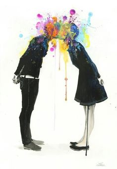 Water colours. Kiss