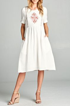 Margarita Embroidered Dress in Ivory