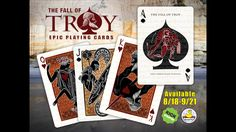 Inspired by ancient greek design, this hand-illustrated poker deck displays characters and scenes from the legendary Trojan War.