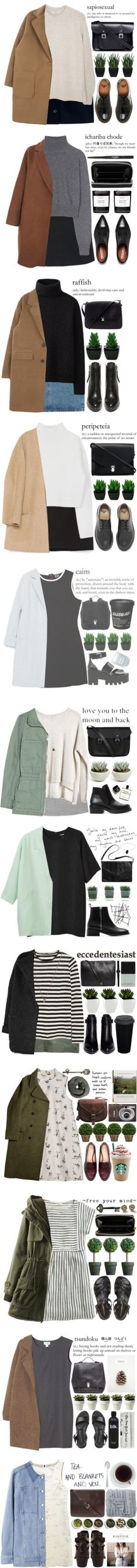 Jackets by evangeline-lily on Polyvore featuring A.P.C., MANGO, Dr. Martens, Lux-Art Silks, The Cambridge Satchel Company, women's clothing, women's fashion, women, female and woman