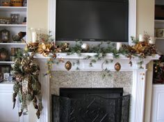 """Media Room Mantle, Media Room Mantle dressed for Christmas, Mantle in Media Room decorated for Christmas  I utilized beautiful metallic colors in brown, copper and gold.  Love it when I get beautiful, quality decorations at the """"after Christmas sales""""  The media room tree is coordinated in the same colors, Holidays Design"""