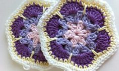 Lesson African Flower Granny Hexágono Paso A Paso En Español - Crochet Sphere Crochet Square Patterns, Crochet Motifs, Crochet Mandala, Crochet Stitches Patterns, Crochet Squares, Knit Or Crochet, Crochet Crafts, Crochet Projects, Crochet Baby