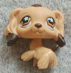 Littlest Pet Shop Tan Cocker Spaniel 575 Brown Dipped Ears Star Eyes RARE Dog | eBay