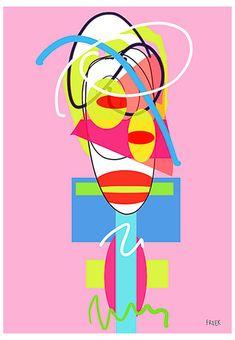 Woo Too Tan Pan by Sam Freek - Contemporary art prints for the modern home - #art #artprint #abstractart #portrait