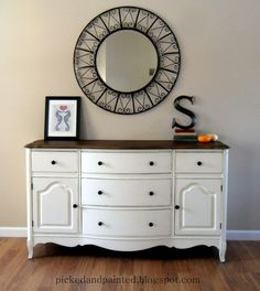 Lotus Flower by Valspar was used on this furniture piece. This color is a shade of cream but it's more of a  creamy white with not a lot of yellow undertones.  Beautiful warm white.