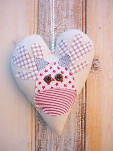 Shabby Chic Christmas Decoration Padded Hanging Heart with Rudolph The Reindeer | eBay