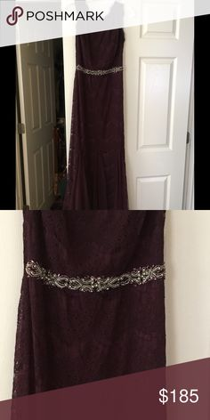 "Eggplant bridesmaid/MOB dress,like new, worn once Long lace dress with godets and beaded waist from David's bridal, originally $229.95. Flattering, stylish. I am usually a dress size 2, and didn't need alterations.  Hem is at top of the foot for my height, 5'4"". Dry-cleaned and in excellent condition. All over lace, trumpet dress, an eyelash lace neckline and scoop back with full zipper in center. Fully lined. Designed by Betsy & Adam. Cap sleeve, goes with normal bra. Size chart lists 31.5…"